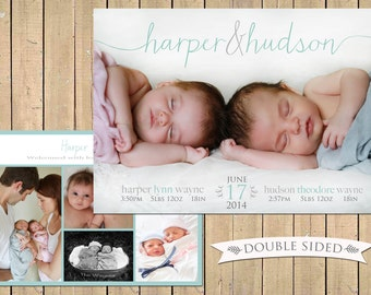 TWIN Birth Announcement DOUBLE SIDED Twins Photo Birth Announcement - Name Baby Announcement - Printable, Digital, Modern, Custom - collage
