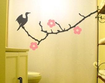 Cherry Blossoms Shower Curtain, Cormorant Bird bathroom decor, Floral Nature, extra long custom fabric colors