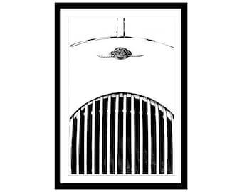Morgan Car, Morgan Plus 4 Picture, Car Photography, Auto Print, Vintage, Black White, Car Print, Automotive Art, Classic Car