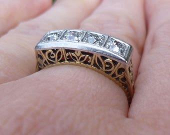 Platinum and 18Kt filigree wedding ring engagement ring  60 points of European cut diamonds