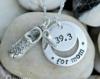 Runners And Walkers Awareness Tribute Race For Cure Necklace - Runner's Gift - Walker's Gift - Race Badge - Race Achievement Bling - Unisex