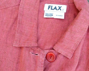 Flax 90's jacket top layer shirt coral linen Medium cropped boxy oversized