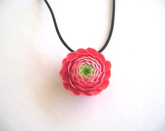 Handmade Clay Flower Nacklace - Coral Pink Ranunculus Necklace