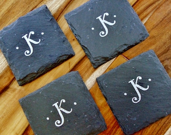 Personalized Letter Slate Coasters -  Wedding, Engagement, Anniversary, Christmas, Bridal Shower, mancave, last name, initials