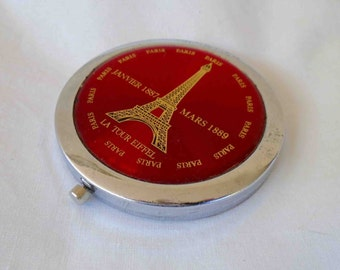 Vintage Eighties Round Compact Mirror with Eiffel Tower in PARIS  / Celebrating Construction of Eiffel Tower Time Period