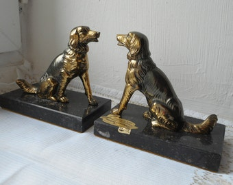 stunning vintage French marble and brass bookends designed as dogs