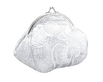 white clutch clutch purse bridal purse bridal bag wedding clutch bag purse bridesmaid clutch bag chain brocade women's silver white 0425