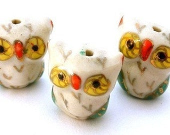 3 porcelain owl beads, very cute - Hoo are you