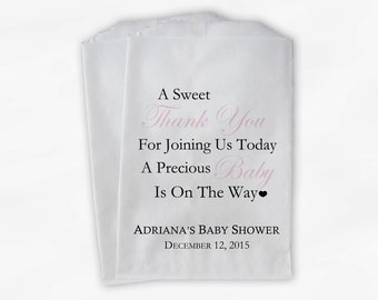 Sweet Thank You Baby Shower Candy Buffet Treat Bags - Set of 25 Baby Pink Personalized Favor Bags (0108)