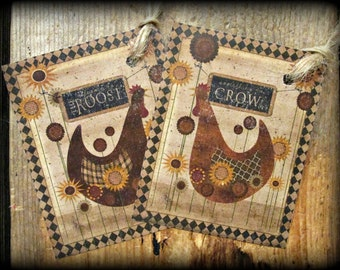Primitive Rooster & Hen Hang Tags