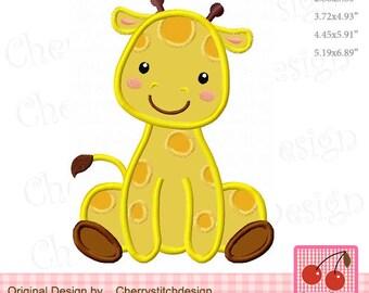 Giraffe Baby boy Giraffe Machine Embroidery Applique Design - 4x4 5x7 6x10 hoop AN0062