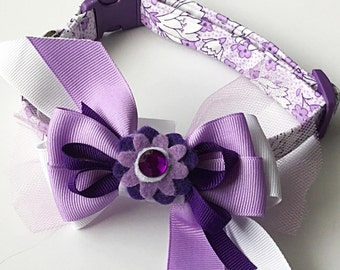 Purple and White Floral Dog and Cat Collar with Ribbon Bow