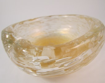 Vintage Murano Art Glass Bowl Clear with Gold Metallic Center and Elongated Bubbles and Swirled Textured Outer Layer