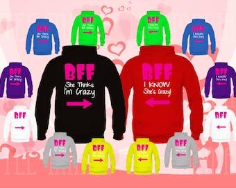 Best Friend FOREVER (BFF) 2 Matching Hoodies, 2 Couple Sweatshirts