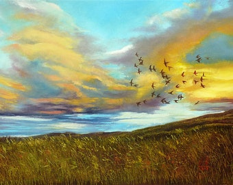 Sky with clouds Landscape Original painting on canvas Meadow painting Sky painting Clouds artwork canvas Field painting Clouds oil painting