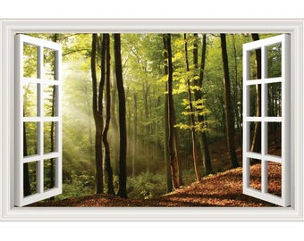 Trees Forest Sunlight Nature Wall Decal Sticker Graphic - 4 Sizes Available (More Options)