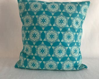 Turquoise & White Star Modern Fabric Indoor Pillow