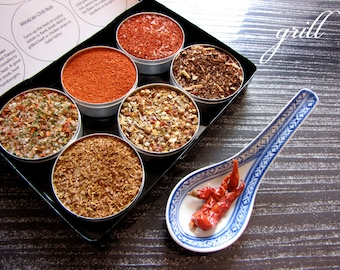 gourmet BBQ rubs kit for red meat and burgers - the perfect gift for him - 6 containers in a gift box