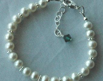 Freshwater Pearl  With Birthstone Custom Children Bracelet