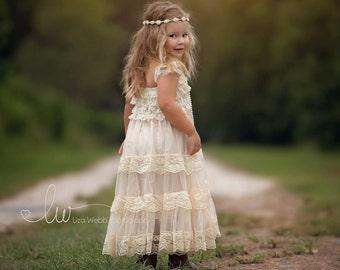 lace flower girl dress, flower girl dress, flower girl dresses, country flower girl dress, lace girl dress, baby dress, ivory lace dress