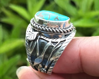 Egret Bird Ring, Artisan Ring in Sterling Silver Cigar Band Style Turquoise Ring, Size 8 1/4 Wide Silversmith Ring, Unique Boho Art Ring
