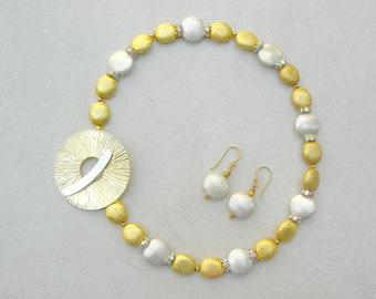 "Oriental Sunrise, Florentine Gold Vermeil & Sterling Silver Beads, Rhinestones,Big Vermeil Saki ""Sun"" Clasp, Investment Set by SandraDesigns"