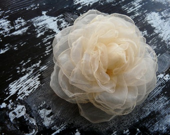 Champagne Wedding Hair Accessory, Ivory Hair Flower, Cream Bridal Hair Flower, Ivory Hair Rose