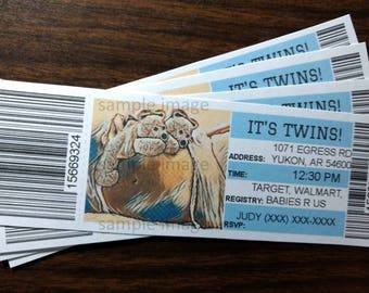It's twins announcement ticket,baby shower invitation,customized invites