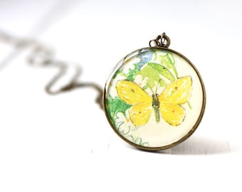 Yellow Butterfly Spring Fashion Vintage Art Pendant Necklace, Woodland Nature Creature