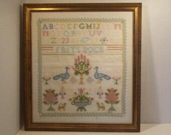vintage hand embroidered sampler