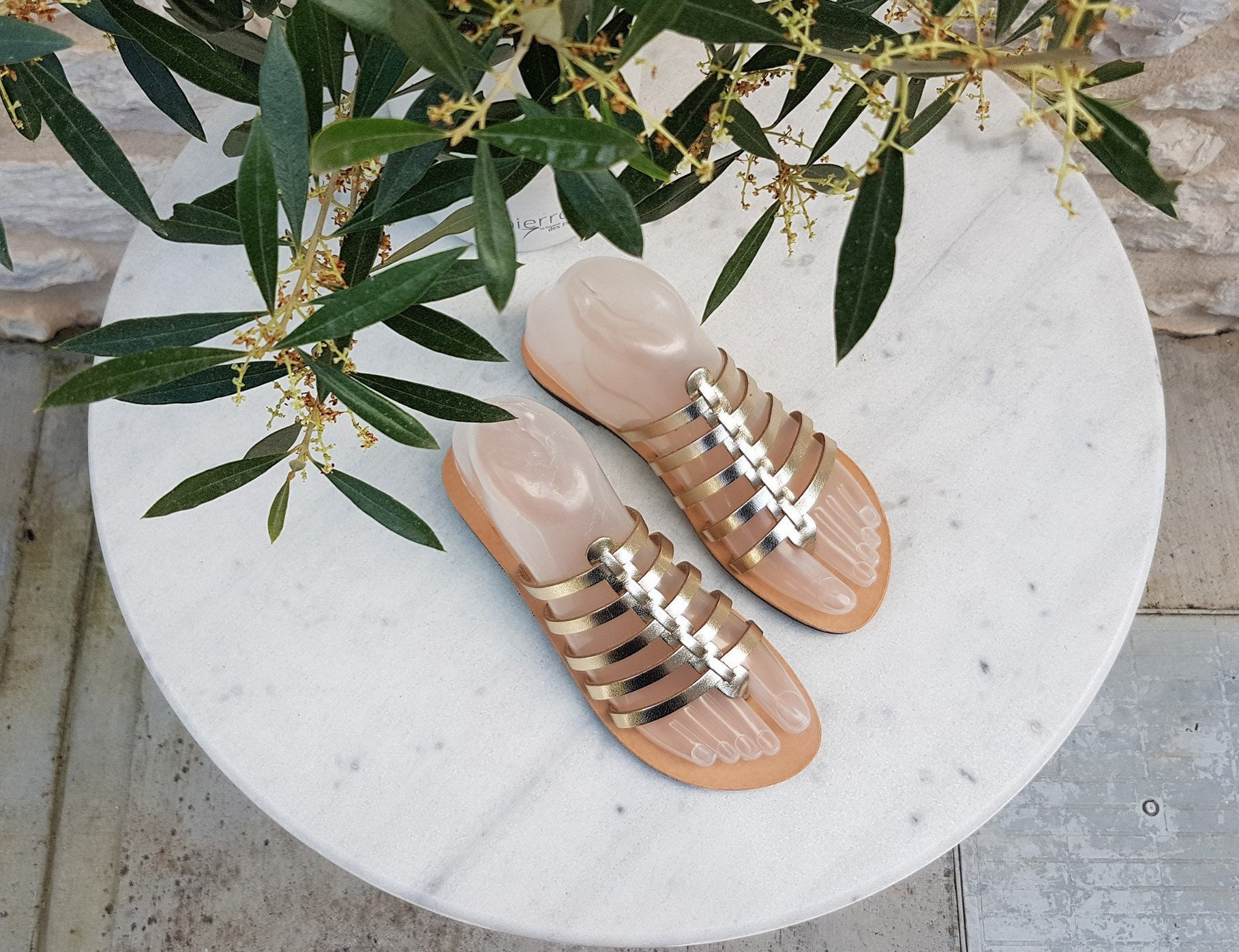 Handmade Greek Leather Sandals - Gold Sandals - Wedding Slides Sandals - Metallic Sandals - Slides Wedding - Wedding Shoes - Bridesmaids - Gift for Her db7414