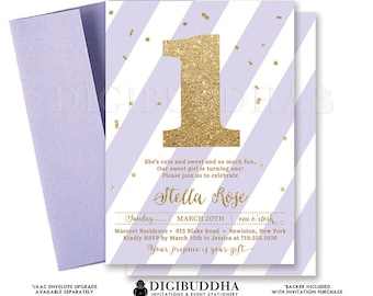 LILAC GOLD Glitter INVITATION First Birthday Purple Confetti 1st Party Printable Invite Baby Girl Turning One Free Shipping or DiY- Stella