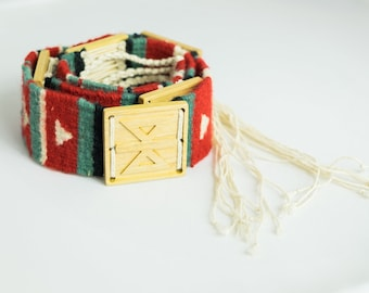 Handwoven wool bracelet with wooden tile