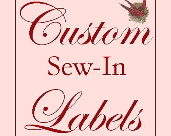 80 Custom Cotton SEW-IN Labels- Fabric Garment Tags with YOUR Logo