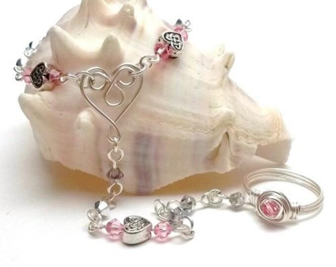 Celtic Heart Slave Bracelet with Pink & Silver Swarovski Crystals