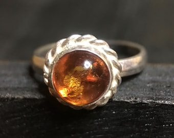 Vintage Sterling Silver/ Baltic Amber Ring   #352