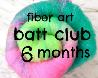 Batt Club -6 month subscription - merino wool, sparkle, luxe add ins -receive one of a kind colorway & blends to spin or felt by Pixie Spins