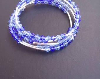 Blue Crystal Memory Wire Cuff Bracelet