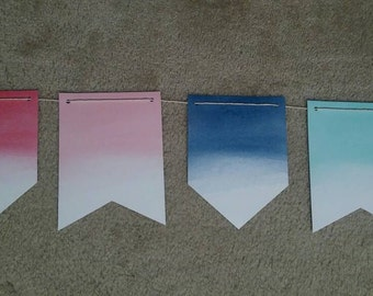 Nautical Beach Anchor Theme Watercolor Pink Blue Aqua Birthday Party Paper Banner