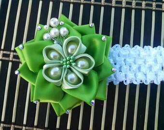 Emerald Green Kanzashi Flower Headband