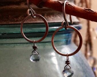 Tiny Aquamarine Sterling Ring Earrings