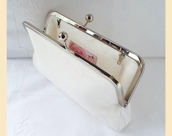 Wedding clutch bag, ivory silk clutch, ivory purse, bridal purse, silk purse, personalised clutch