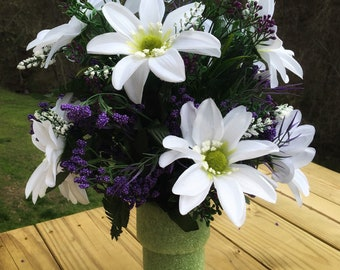 Cemetery Vase Flowers, Memorial Flowers, Grave Decoration for Headstone Vases, Side Vase Flowers for Grave