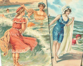 Vintage Beach Beauties Printable Collage Sheet - 2 x 3 Inch Rectangles - Instant Digital Download