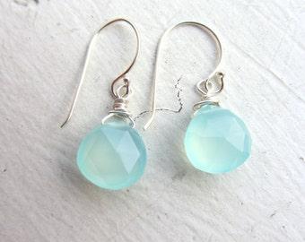 Green Chalcedony Earrings, Co Worker Gift, Secret Santa Gift, Chalcedony Earring, Sterling Silver Earrings, Beach Wedding