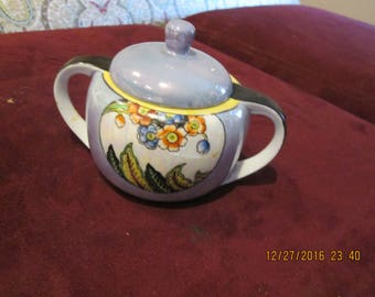 Blue Lustre sugar, Noritake hand painted good condition 1930's