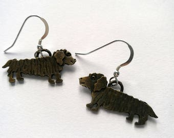 Cute Wire Haired Dachshund Dog Earrings handmade by Sharon McSwiney