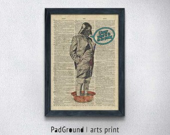 Star Wars Print, Darth Vader Print, Dictionary Art, Illustration Poster, Home Decor, Wall Art, Unique Gifts, Burlap Print Frame - STW80
