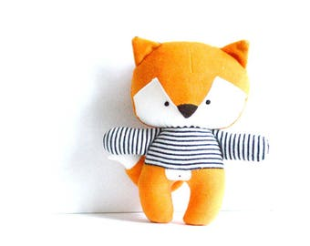 Fox foxy rag doll with navy blue and white striped tee stuffed toy fox plushie fox softie stuffed animal woodland rusty orange 26cm 10.2""
