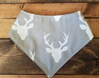 Deer baby bibdana, reversible woodland drool bib, navy bib bandana, FREE SHIPPING